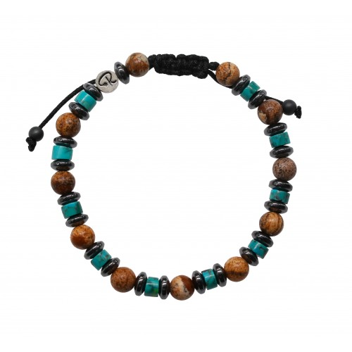 Bracelet Mickaël - Turquoise, Jaspe Paysage et Hématite