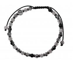 Bracelet Quartz Tourmaline et Hématite