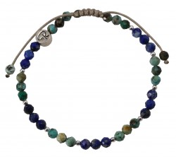 Bracelet Bicolore - Turquoise Africaine, Lapis Lazuli et Argent 925
