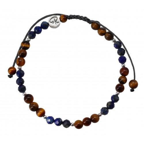 Bracelet Bicolore - Lapsi Lazuli, Oeil de Tigre et Argent 925