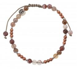 Bracelet Bicolore - Agate Botswana, Hématite et Argent 925