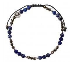 Bracelet Bicolore - Lapsi Lazuli, Pyrite et Argent 925