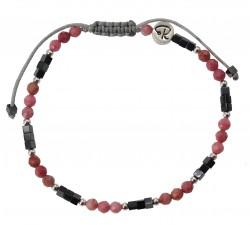 Bracelet Bicolore - Rhodonite, Hématite et Argent 925