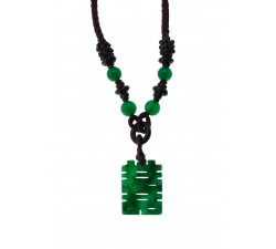 Collier Amulette - Jade Néphrite et Onyx