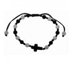 Bracelet Croix en jade et onyx