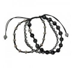 Bracelet Cosmo Jade, Argent, Obsidienne Flocon de neige