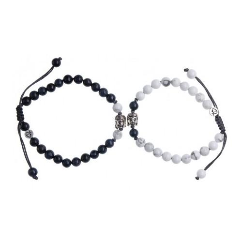 Bracelets de Couple Bouddha en Dumortierite et Howlite