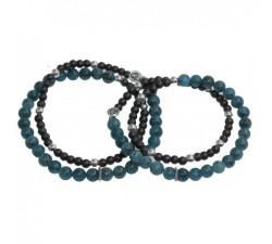 Bracelets de couple Infini en Apatite et Hématite et perles d'argen