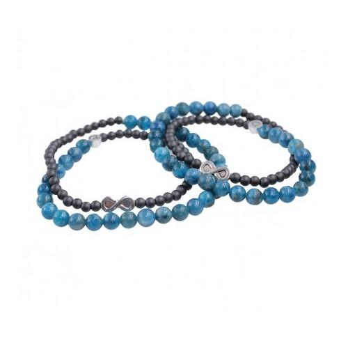 Bracelets de couple Infini en Apatite et Hématite