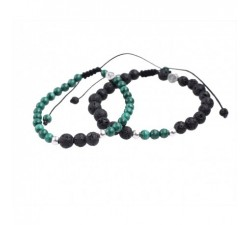 Bracelets de Couple en Malachite et Pierre de Lave
