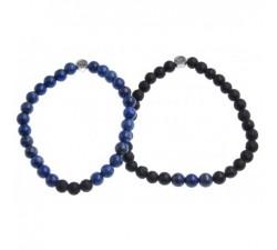 Bracelets de Couple en Lapis Lazuli et Pierre de Lave