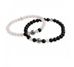 Bracelets de Couple Quartz Rose et Agate Noir