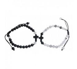 Bracelets de Couple Croix - Agate et Quartz  Rutile