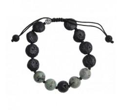 Bracelet Bouddha de l'abondance en jade - noir