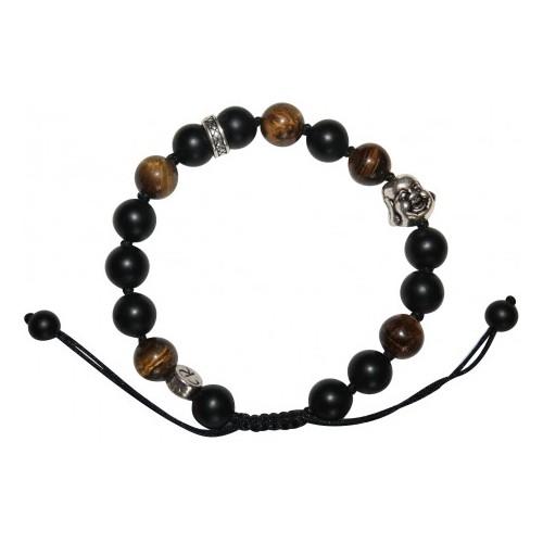 Bracelet Zenitude en oeil de tigre et agate noir