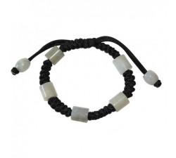 Bracelet Santana en jade blanc - Noir