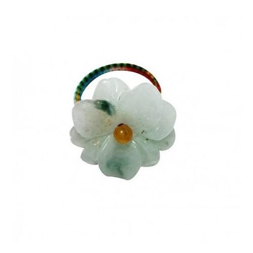 Porte clef fil disque de jade - Marron