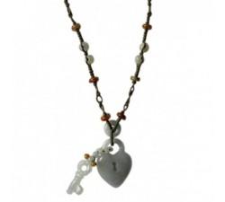 Collier Cadena coeur en jade
