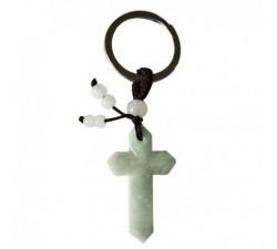 Porte-clefs Croix en jade