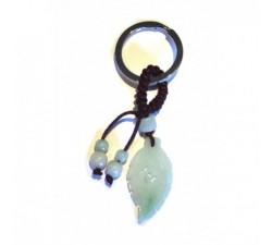 Porte-clef Plume indienne en jade vert