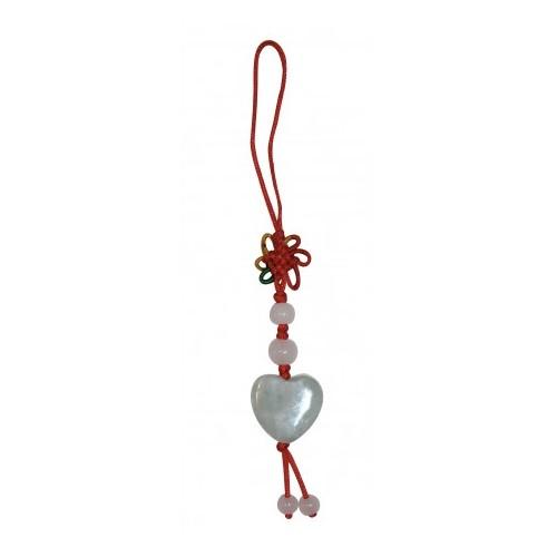 Porte clef fil Petit Coeur en jade