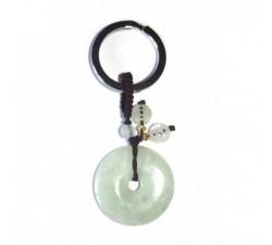 Porte-clef Disque de jade vert