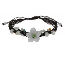 Bracelet petite Fleur tressée - Marron