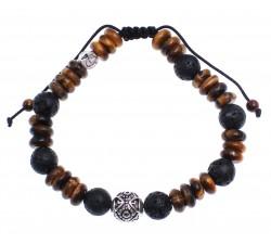 Bracelet homme protection en Pierre de lave et Oeil de tigre