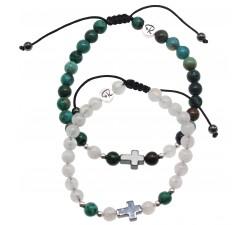 Bracelets de Couple Croix - Pierre de Lune et Chrysocolle
