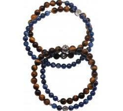 Bracelets de couple Doublé en Oeil de Tigre et Cyanite