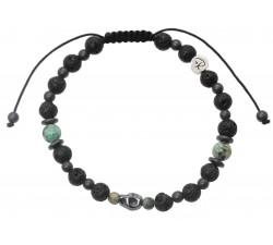 Bracelet Turquoise d'Afrique,Pierre de Lave et Hématite