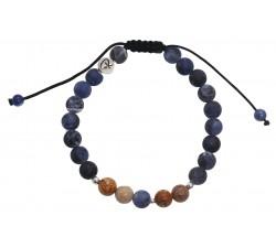 Bracelet en Sodalite mat et Jaspe Paysage