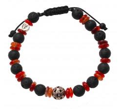 Bracelet«Pinatubo» en Cornaline et Pierre de Lave - Homme