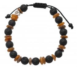 Bracelet «Etna» en Œil de Tigre et Pierre de Lave – Homme
