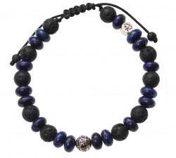 Bracelet «Fuji » en Lapis Lazuli et Pierre de Lave – Homme