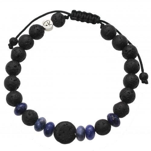 Bracelet «Taal» en Sodalite et Pierre de Lave – Homme