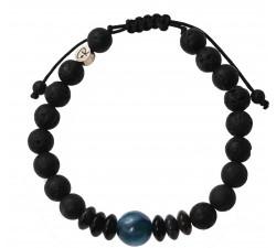 Bracelet «Stromboli» en Cyanite, Agate et Pierre de Lave – Homme