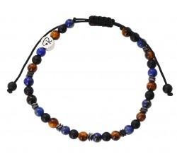 Bracelet Mix Protection Oeil de Tigre, Lapis Lazuli, Agate Noire et Hématite