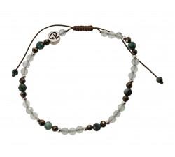 Bracelet Facettes en Préhnite, Pyrite, Turquoise et Argent 925