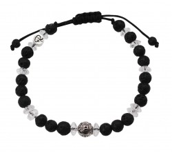 """Bracelet """"Pinatubo"""" en Pierre de Lave et Cristal de Roche"""