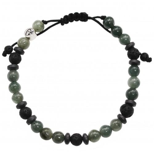 """Bracelet """"Milos"""" en Pierre de Lave, Jade Vert et Hématite"""