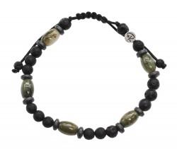 "Bracelet ""Goreli"" en Pierre de Lave, Jade Vert et Hématite"