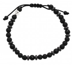 """Bracelet """"Mokoia"""" en Pierre de Lave, Agate Noire et Hématite"""