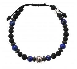 Bracelet Arenal en Pierre de Lave, Lapis Lazuli et Hématite