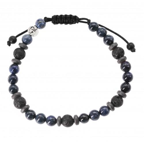 """Bracelet """"Barva"""" en Pierre de Lave, Sodalite et Hématite"""