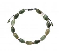 Bracelet Bambou en Jade Vert et Argent 925