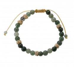 Bracelet Battement en Jade Vert et coton beige