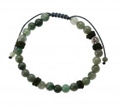 Bracelet Battement en Jade vert et coton vert