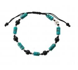 Bracelet Tambour en Turquoise, Tourmaline Noire et Argent 925