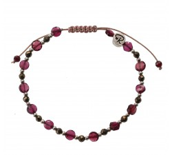 Bracelet en Grenat, Pyrite et Argent 925